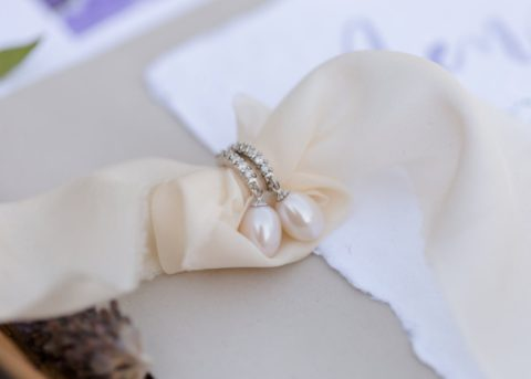 Becca pearl bridal earrings